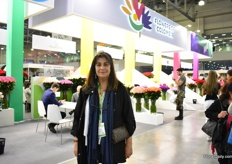 Cristina Uricoechea of Asocolflores representing Colombian companies at their pavillion named Flowers of Colombia.