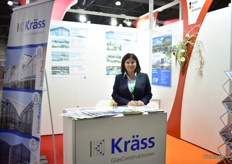 Luba Gritsuk of Krss GlasConstruktionen exhibiting in the German pavillion.