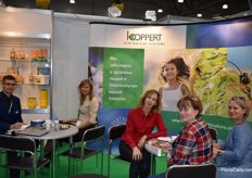 This is the stand from Koppert Russia. On the picture we see Dmitrii Kiranov, Marina Derktereva and Olgo Gerasimova together with a client.