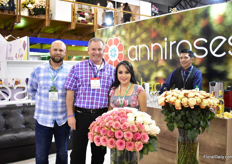 Gabriella Moreta of Annirose together with Diego Chiriboga of Ariba Flor and Rene Streng of Cut Flower Wholesale . This year, Anniroses is adding 22 new varieties to their assortment. At Agriflor, they are showcasing 15 of the new varieties.