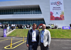 Marcel Orie of Kuhne and Nagel and Jeroen Oudheusden of FSI in front of the new Metropolitan Convention Center of Quito.