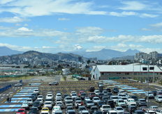 The view out of the Metropolitan Convention Center of Quito. Do you see the Cotopaxi volcano?