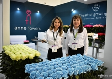 Claudia Velez and Jeanneth Paez of Anne Flowers. They produce roses and over the last two years, they are also tinting and spraying their roses.