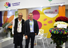 Felipe Rojas and Jorge Ortega of Matina Flowers were also exhibiting at the Asocolflores booth,