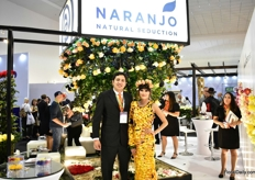 Daniel Gomez and their model promoting the new brand image of Naranjo.