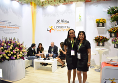 Jimena Delgado and Mary Sanchez of Logistic Farms. They mainly grow statice, stock, Irish Bell and are a broker for other products. All products are grown in Ecuador.