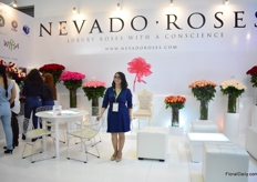 Maite Saiz of Nevado Roses. They grow roses on 36ha and also tint them.