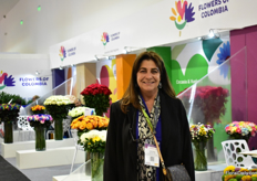 Cristina Uricoechea of Asocolflores. At the Expo Flor Ecuador, 6 Colombian growers were presenting their products in the Asocolflores booth.