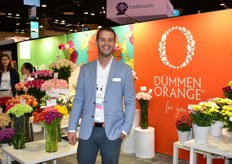 Bas Pellenaars of Dmmen Orange. They are exhibiting at the PMA for the first time to create awareness among growers and importers regarding the wide assortment of Dmmen Orange. Next to cut flowers, they are also presenting Tropical treasures a conept for tropical plants and Calanday their brand for kalanchoes.