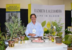 Robert Bakker of Elizabeth Alexandra; a new brand of Dewar Nurseries, one of Americas largest rose growers. It is a new division offering innovative floral creations and an assortment of edible fruits.