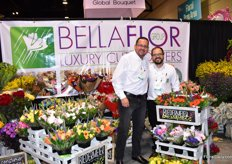 Leonardo Raza and Jose Torres of Bellaflor, This Ecuadorian grower produces over 30 flower varieties.We are a one-stop-shop and we therefore can offer a large amount of different bouquets, says Torres. The US is their main market where they supply to wholesalers and mass market.
