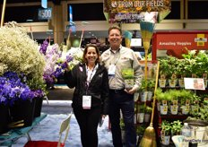 Lourdes Reyes of BallSB and Tim Duffin of Ball Horticultural Company. He is presenting the fresh herb programe Fresh Flavors for grocey stores. They can put it in the shelves year round.