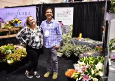 Beth Hartman and Mike Mooney of Dramm Echter. They are a local California flower grower of gerberas, Oriental and LA Hybrid lilies, succulents, and hybrid tea and spray roses in coastal San Diego. According to Beth, the garden style spray roses are very popular at the moment.