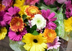A bouquet from the new gerbera bouquet line of Hollandia Greenhouses.
