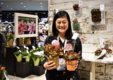 Lisa Higaki of Bay City Flower presenting their own bred Echeveria's; Red Velet (left) and Devotion (right). They are a fouth generation famaly company.