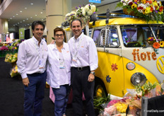 Charlie Alvarez, Betty Santos and Maurizio Bernal of fiore Farms. Thye are importers and distributors and supply mass market and event planners. At the show, they are presenting their farm to table concept with a VW van.