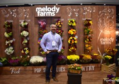 Juan David Bustamante of Melody Farms. They grow flowers in Colombia and have an operation in Miami and they are known for arrangements. They are specialized in sea shipment and export 80 percent of their volumes to the US, the rest to Chile, UK, Japan, Europe, Australia and Canada.