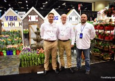Alex van Hoekelen, Nick Sprengers and Larry Huft of Van Hoekelen Greenhouses. Theyare the largest bulb grower in the Northeast and are in business of about 30 years now. It is a real family company and they see the demand for cut tulips growing.