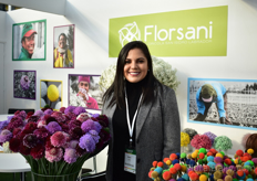 Belen Garcia of Florsani with the Scoops on the left and tinted scabiosa on the right, their newest product.