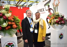 Dave Kaplan and Sarah Lee of Afrex. According to Kaplan, the demand for Cape Flora flowers is on the rise.