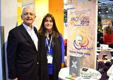 Augusto Solano and Cristina Uricoechea of Asocolflores at the Colombian pavillion, where around 14 Colombian companies (mainly growers) were presenting their products and services. They were also promoting Proflora 2019. This show will be held next year, from October 2-4 in Bogota, Colombia.
