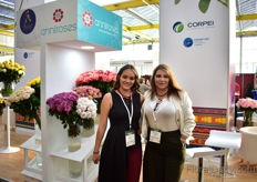 Nicole Lopez and Katherine Mantilla of Anniroses. These Ecuadorian rose growers were exhibiting at the Ecuadorian pavillion. In total, 6 farms were exhibiting at the Ecuadorian pavillion.