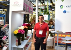 Federico Santa Cruz of Everbloom was exhibiting at the IFTF for the first time. He grows roses in the province of Carchi in Ecuador and is eager to explore new markets.