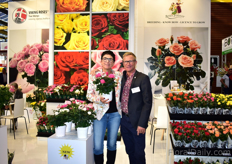 "Rosa Eskelund and Harley Eskelumd. Rosa holding one of her new fragrant potted roses. ""Next to the fragrance, it also has big flowers and the plant keeps its flowers."" In 2019, it will be on the market in small quantities and cuttings will be available for growers to trial."