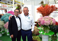 Adrian Moreano of Eternal Flower and Peter Kolster of Kolster next to the new tropical hydrangea of Kolster that Eternal Flower will start growing soon. More on this later in FloralDaily.