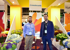 Jose Ospina and Julian Medina of Montecarlo. It is the first time that these Colombian hydrangea, aster, green and more growers are exhibiting at the IFTF.