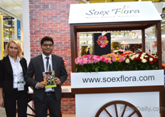 Julia Pelykh and Sidarth Sharma of Soex Flora, an Indian rose grower.