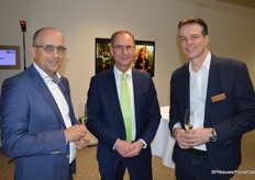 Jack Goossens, Decorum chairman of the Supervisory Board at Royal FloraHolland, Peter Bakker, director Plantion, and Kees Pingen, Smiths Kwekerijen