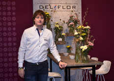 Jeroen Steenbergen of Deliflor presenting their new Sorbet Series. At the IPM they showed three varieties: Banana, Vanilla and Berry