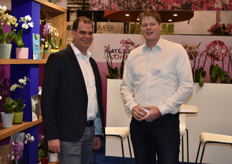 Piet Aardse and Walter Gerretzen of Aardse Orchids. This year they presented their bee-friendly products in their new 'BEE Happy' concept.