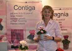 Carolien Klein proudly showed all the visitors their product range of cyclamen.