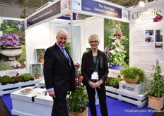 Raymond J Evison OBE VMH and Lindsay Reid of The Guernsey Clematis Nursery. New this year is their dwarf climatis variety (on the right). They cover 20 percent of the world market of clematis and alst year, they produced over 2 million clematis.
