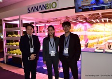 Jacky Cheng, Lynn Tsi and Kido Wu of Sananbio, a Chinese LED and hydroponic modules supplier who is exhibiting at the IPM Essen for the first time.