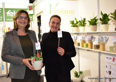 Petra Groenewegen and Marjolein Beuzel of Voodstoc. Voodstoc are biodegradable stabbers who also contain fertilizers. Besides, they also present the Growfun pots. They were present at the IPM Essen for the first time.