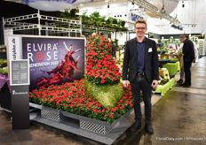 Michael Larsen of Elvira Rose showing the big show filled with the new red Q-iRose Tanja. The roses of  Q-iRose are known for their side buds. Besides, this new variety has, according to larsen, a good shelf life, shiny deep green leaves and is easy to grow.