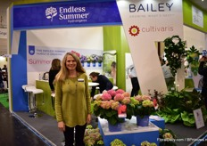 Natalia Hamill of Bailey Nurseries. In the spotlight at their booth; Summer Love. It is a new hydrangea introductin that will be available at the retailers in Europe and the US this spring.