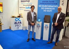 Nenad Stojadinovic and Jan Peter of Alfa Pro. The software maker put the spotlight on the distributor system, a combination of tablet and wireless printer.