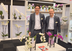 Marco Hendriks and Matthieu van Koppen of Opti-flor, which distinguishes itself in orchids with stylish creations.