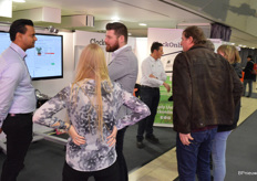A busy stand at ClockOnline, with live demos of the system during the show