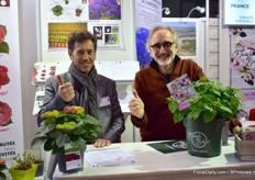 Lionel Chauvin and Karl Storf of Chauvin present the French Bolero, a new hydrangea bred by several French breeders.