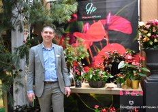 "Edwin van der Voort, representative of Houwen Plant. ""The unique anthurium in the Diamond collection of Dutch grower Houwenplant brings elegance and a tropical feeling to the world of decoration. It will be available in mini format for table decoration as well."""