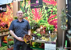 "Jan Bouten of Gartenbau Bouten from Germany showcases the new brand Freaky Leaves for Coleus. ""This wild and natural colourful leaf plant creates attraction in modern and natural packaging."""