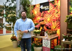 Michael Bosch of Bosch Plants at the booth of Dmmen Orange. This German pot plants company presents their chrysanthemum assortment ready to sell for autumn/winter 2019.