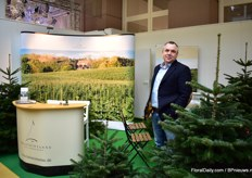 Andre Schmidt of Holsteintanne. This German Christmas tree grower is the only fresh Christmas tree supplier present at the show.