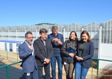 On the left Sergio Moreno, the man responsible for daily affairs at the nursery; then Luis Corella, owner president; then CEO Dirk Hogervorst; and then Carmen Juan-Aracil and Francine van Wijk, both responsible for marketing and communication.