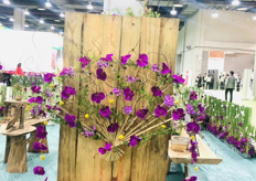 Flower arrangements at the booths